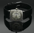 Clocks & Mechanical, A MEN'S GOLD AND LEATHER WRIST WATCH. Elgin. The black leather band with 1.1in. diameter 14k white gold square case with w...