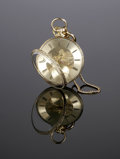Timepieces:Pocket (pre 1900) , AN ENGLISH POCKET WATCH AND FOB. Nineteenth Century. The Englishpocketwatch engraved to interior backplate To my loving...