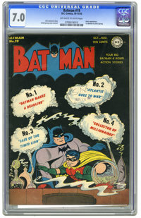 Batman #19 (DC, 1943) CGC FN/VF 7.0 Off-white to white pages. Dick Sprang cover and art. Joker appearance. First Batman...