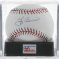 Autographs:Baseballs, Yogi Berra Single Signed Baseball, PSA Mint+ 9.5. HOF catcher YogiBerra gives us this flawless sweet spot signature on an ...