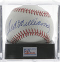 Autographs:Baseballs, Ted Williams Single Signed Baseball, PSA NM-MT+ 8.5. Ted Williamsgives us this excellent sweet spot signature on an OAL (B...