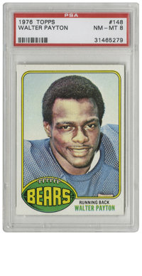1976 Topps Walter Payton #148 PSA NM-MT 8. Sweetness, the HOF running back whose impressive durability led to his missin...