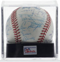 Autographs:Baseballs, Hall of Famers Baseball Signed by 17, PSA NM+ 7.5. On this OAL(Brown) baseball, seventeen members of Cooperstown's Hall ha...