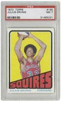 Basketball Cards:Singles (1970-1979), 1972 Topps Julius Erving #195 PSA NM 7. Impressive rookie card fromDr.J is offered here as a precursor to the man who was ...