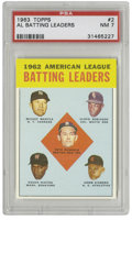 Baseball Cards:Singles (1960-1969), 1963 Topps AL Batting Leaders #2 PSA NM 7. The top hitters in theAL from 1962 are showcased on this card, led by Pete Runn...