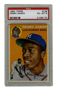 1954 Topps Henry Aaron #128 PSA EX-MT 6. Seven-hundred fifty-five home runs. This stat is a hallmark for the offensive c...