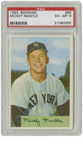 Baseball Cards:Singles (1950-1959), 1954 Bowman Mickey Mantle #65 PSA EX-MT 6. A classic imagedepicting a classic player, Mantle's '54 Bowman card is a favori...