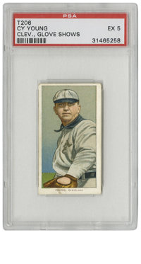1909-11 T206 Cy Young Glove Shows PSA EX 5. While some argument exists as to whether he was the best pitcher of all-time...