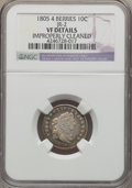 Early Dimes, 1805 10C 4 Berries, JR-2, R.2, -- Improperly Cleaned -- NGCDetails. VF. NGC Census: (9/188). PCGS Population (1/7). Mintag...