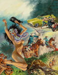 Pulp, Pulp-like, Digests, and Paperback Art, Tom Beecham (American, 1926-2000). Hawaiian Woman in Trouble,Fury magazine cover, November 1956. Oil and gouache on boa...