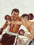 Pulp, Pulp-like, Digests, and Paperback Art, American Artist (20th Century). Boxing it Out. Oil on board.19 x 14.5 in. (image). Not signed. Weider Health and Fi...