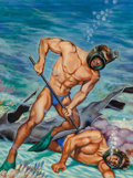 Pulp, Pulp-like, Digests, and Paperback Art, Peter Poulton (American, 1914-1972). Scuba Rescue, AmericanManhood magazine cover, December 1952. Oil and gouache on ca...
