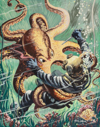 Henry Luhrs (1897-1964) Battling an Octopus, American Manhood pulp magazine cover, August 1953 Oil o