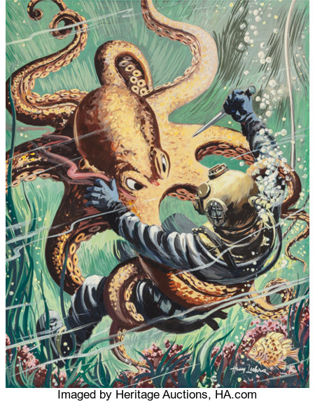 Henry Luhrs (1897-1964) Battling an Octopus, American Manhood pulp magazine cover, August 1953 Oil on board 17.25 x 1...