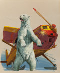 Pulp, Pulp-like, Digests, and Paperback Art, Mort Künstler (American, b. 1931). Arctic Ordeal, Sports Afieldmagazine illustration, circa 1959. Gouache on board. 19 ...