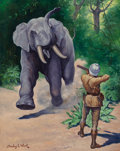 Mainstream Illustration, American Artist, after Stanley L. Wood (20th Century). ElephantHunter. Oil on canvas. 29.75 x 23.75 in.. ...