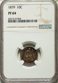 Proof Seated Dimes: , 1879 10C PR64 NGC. NGC Census: (73/82). PCGS Population (75/61). Mintage: 1,100. Numismedia Wsl. Price for problem free NGC...