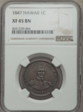 Coins of Hawaii , 1847 1C Hawaii Cent XF45 NGC. NGC Census: (20/270). PCGS Population(22/379). Mintage: 100,000. ...
