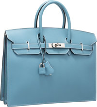 Hermes 35cm Blue Jean & White Epsom Leather Sellier Birkin Depeches Briefcase Bag with Palladium Hardware J Squ