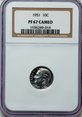 Proof Roosevelt Dimes, 1951 10C PR67 Cameo NGC. NGC Census: (171/96). PCGS Population(146/23). Numismedia Wsl. Price for problem free NGC/PCGS c...