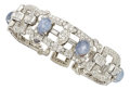 Estate Jewelry:Bracelets, Art Deco Star Sapphire, Diamond, Platinum Bracelet. ...