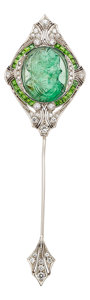 Estate Jewelry:Brooches - Pins, Art Deco Emerald Cameo, Demantoid Garnet, Diamond, Platinum, White Gold Jabot Brooch. ...