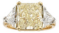 Estate Jewelry:Rings, Fancy Light Yellow Diamond, Diamond, Gold Ring. ...