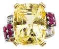 Estate Jewelry:Rings, Yellow Sapphire, Ruby, Diamond, Gold Ring. ...