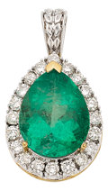 Estate Jewelry:Pendants and Lockets, Colombian Emerald, Diamond, Gold Pendant. ...