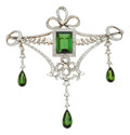 Estate Jewelry:Brooches - Pins, Edwardian Tourmaline, Cultured Pearl, Diamond, Platinum-Topped GoldBrooch, Austrian. ...
