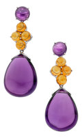 Estate Jewelry:Earrings, Amethyst, Citrine, White Gold Earrings, Assil. ...