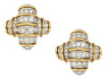 Estate Jewelry:Earrings, Diamond, Platinum, Gold Earrings, Angela Cummings for Tiffany &Co.. ...