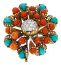 Estate Jewelry:Brooches - Pins, Diamond, Turquoise, Coral, Gold Clip-Brooch, Tiffany & Co., French. ...