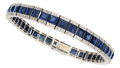 Estate Jewelry:Bracelets, Art Deco Sapphire, Diamond, Platinum, Gold Bracelet, Laillet,French. ...