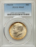 Kennedy Half Dollars, 1964-D 50C MS65 PCGS. PCGS Population (1153/657). NGC Census:(1555/354). Mintage: 156,205,440. Numismedia Wsl. Price for p...