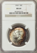 Kennedy Half Dollars, 1965 50C MS64 NGC. NGC Census: (217/577). PCGS Population (289/563). Mintage: 65,879,368. Numismedia Wsl. Price for problem...