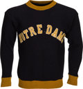 Football Collectibles:Uniforms, Circa 1941 Notre Dame Game Worn Sideline Sweater....