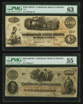 Confederate Notes:1862 Issues, T40 $100 1862 PF-1 Cr. 298;. T41 $100 1862 PF-62 Cr. UNL.. ...(Total: 2 notes)