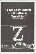 """Movie Posters:Foreign, Z (Cinema 5, 1969). One Sheet (27"""" X 41"""") Black Style. Foreign.. ..."""