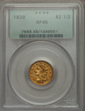 Classic Quarter Eagles, 1839 $2 1/2 XF45 PCGS. Breen-6148, Variety 21, R.3....