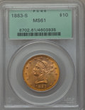 1883-S $10 Misplaced Date, FS-301, MS61 PCGS. PCGS Population: (2/1). NGC Census: (2/1). MS61. Mintage 38,000. ...(PCGS#...