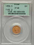 Gold Dollars, 1856-S/S G$1 Type Two, FS-501 XF40 PCGS....
