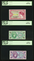 Military Payment Certificates:Series 641, Series 641 5¢; 10¢; $1 PCGS Gem New 66PPQ.. ... (Total: 3 notes)