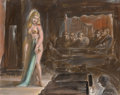 Fine Art - Painting, American:Modern  (1900 1949)  , Reginald Marsh (American, 1898-1954). Burlesque Queen. Oilon masonite. 16-1/4 x 20 inches (41.3 x 50.8 cm). Signed lowe...