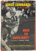 """Football Collectibles:Publications, 1963 Vince Lombardi Signed """"Run to Daylight!"""" Hardcover Book - Personalized to Packer HOFer Art Daley. ..."""