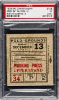 Football Collectibles:Tickets, 1936 NFL Championship Game Packers Vs. Redskins Ticket Stub - Highest Graded!...