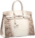 Luxury Accessories:Bags, Hermes 35cm Matte White Himalayan Nilo Crocodile Birkin Bag with Palladium Hardware. T, 2015. Pristine Condition. ...