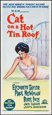 "Cat on a Hot Tin Roof (MGM, R-1966). Australian Daybill (13.25"" X 30""). Drama"