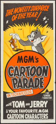 """MGM's Cartoon Parade with Tom and Jerry (MGM, 1950s). Australian Daybill (13.5"""" X 30""""). Animation"""