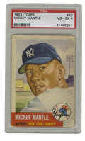 Baseball Cards:Singles (1950-1959), 1953 Topps Mickey Mantle #82 PSA VG/EX 4. One of the most desirableMantle cards from one of the most desirable issues is o...